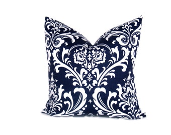 Decorative Euro Pillow Sham Navy Blue Pillow ONE 26x26 Throw Pillow Cover Damask Dark Blue Pillow Printed Fabric both sides housewares