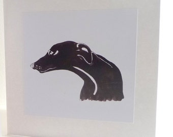 Black Greyhound Greetings Card