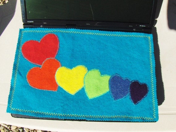 Handmade Rainbow Gay Pride Laptop Computer Screen Keyboard Protector Mat Multi Colors Embroidered Harts AppliquesValentines Day Gift