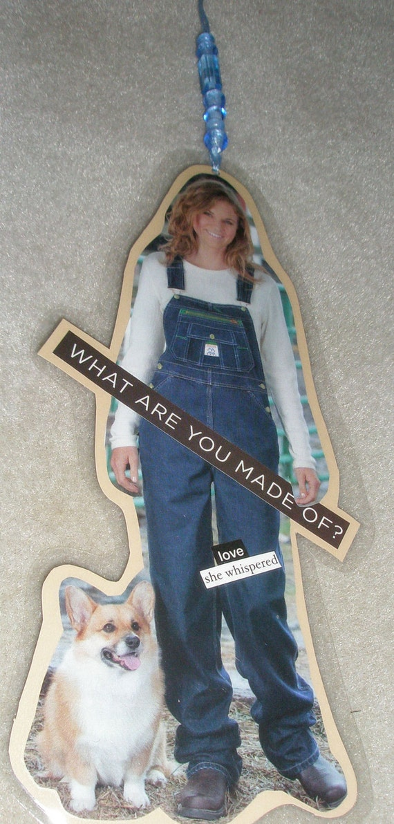 "Paper Collage Bookmark Hangy Thing ""SHE WHISPERED"""