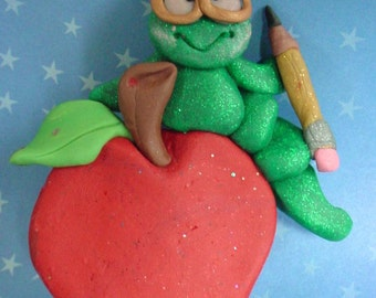 Apple Caterpillar Christmas Ornament Teacher Worm Pencil Polymer Clay Milestone Hungry Bookworm Reading Glasses Writer Author Librarian