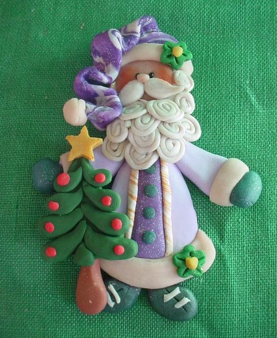 Polymer Clay Old World SANTA Milestone Christmas Ornament w Tree Star