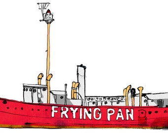Lightship Frying Pan: ship print / nautical illustration