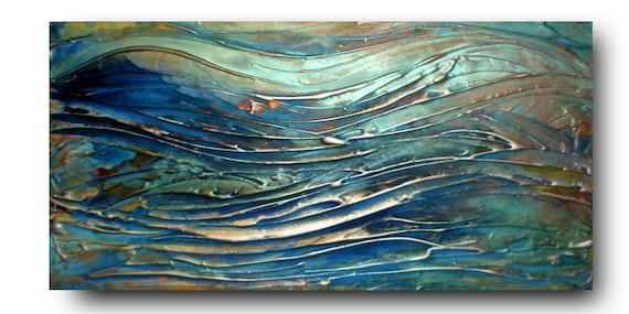 Original seascape Art by Caroline Ashwood - Textured and contemporary modern painting on canvas - FREE SHIPPING