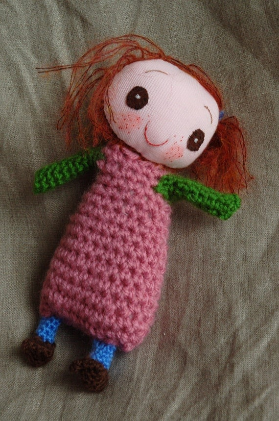 Handmade doll with personality, smiling plush toy Matilde. Immediate and FREE SHIPPING.