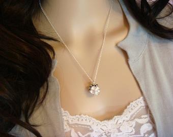 Silver Skull Necklace / black rhinestone encrusted skull necklace / day of the dead dia de los muertos skull