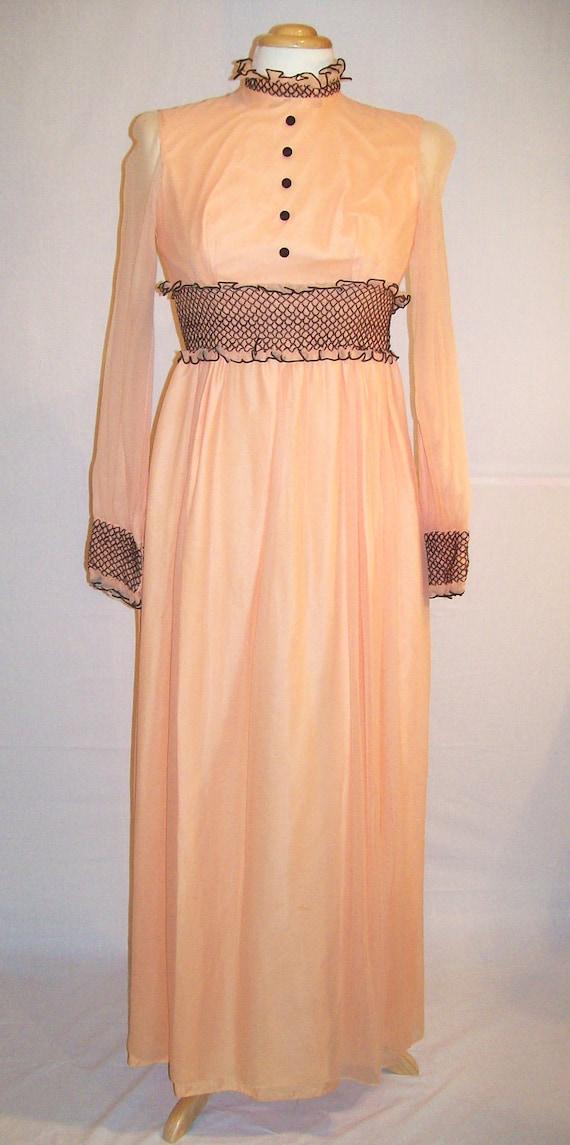 Vintage Dress 60s 70s Chiffon Sleeve Peach Victorian Edwardian Collar Prom Bridesmaid
