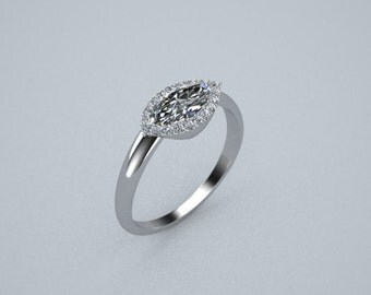Marquise Engagement Ring Pave Halo 14K White Gold Customizable