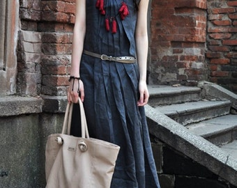 Linen Blue Summer Dress / Long Pleated Maxi Dress Gown /maxi Kaftan Dress / Custom Xs-xl,xxl, Plus Size Women Clothing, A8053