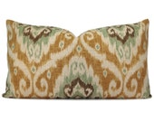 Iman Ubud Opal Ikat Pillow Cover in Sage Green, Camel and Charcoal - Throw Pillow - Decorative Pillow - Square and Lumbar Sizes
