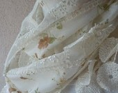 Plus Size Ivory Floral Shawl With Lace-Brown Floral Scarf-SHAWL- Tassel-Lace Edge-2012 Fashion-Turkish Style-Turkish Traditional Scarf