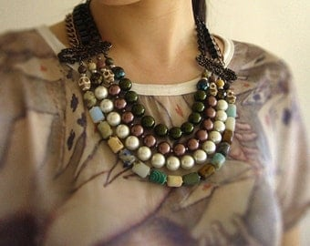 Multi Strand Beaded Bib Necklace, Statement necklace, cylinder gemstone, colored glass pearl and magnesite skull bead