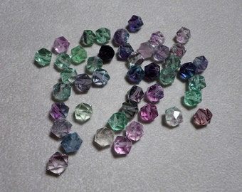 Rare Fluorite Faceted Hexagon Cube  Beads 6mm - 7mm
