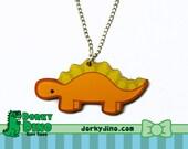 Orange Stegosaurus Dinosaur Necklace, Cute Dino Jewelry