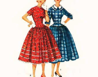 1954 Vintage Bombshell Dress, 3/4 or Short Sleeves with Detachable Collar, Optional Rick Rack or Ribbon Bow Trim, Simplicity 4996, Bust 34""