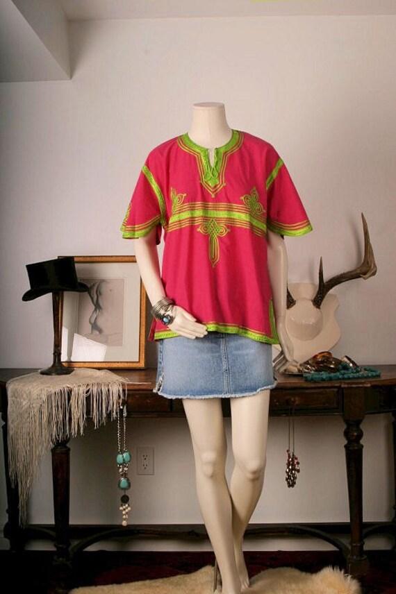 Top blouse Tunic women pink green moroccan kurta ethnic Bohemian Gypsy hippie size 8 S or M small or medium