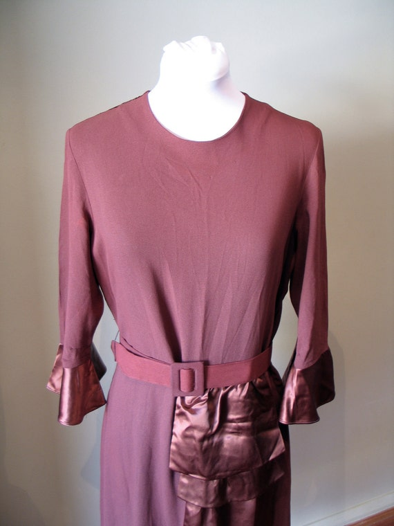 Vintage Late 1930s Crepe and Satin Dress