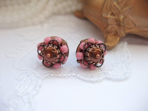 Small Pink Post Earrings Beaded with Czech Glass Beads Sweet Gift for Girls