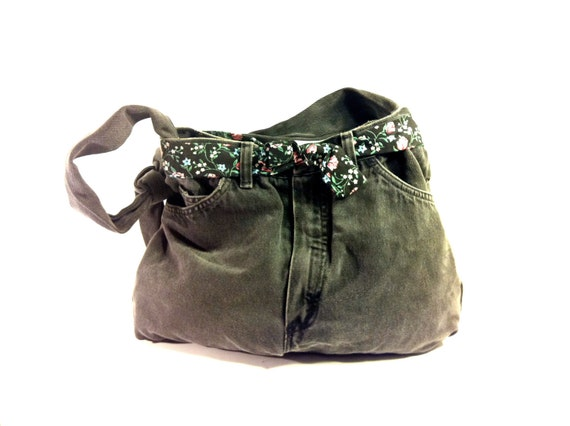 20 SALE -- Black Denim Hobo Bag - Slouchy Jean Shoulder Bag - Huge Bag