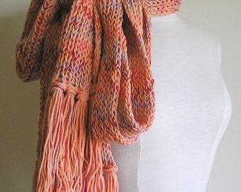 Orange You Glad - OOAK long, chunky, fringed scarf - Cotton blend - Warm and Toasty