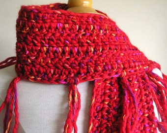 Zooey Scarf - Wool with Ribbon Detailing - Lots of Fringe -- Passion Red