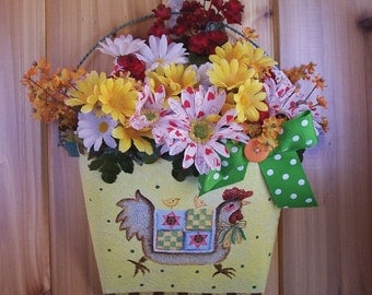 Cheery Floral Arrangement in Textured Tin with Country Chicken Design and Ribbon