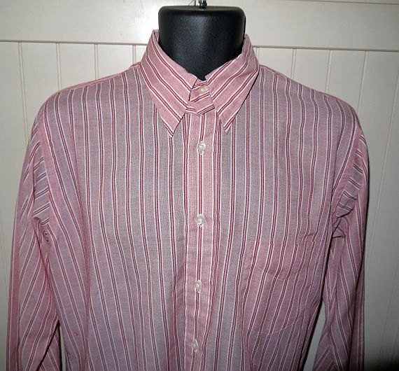 Vintage 60s Snap Tab Collar Shirt 1960s Mens Gant Dress