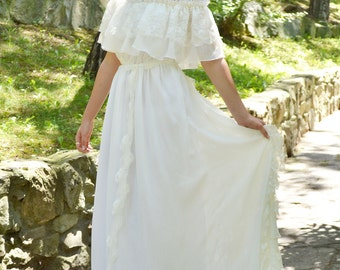 Long Wedding Dress, Ivory Wedding Dress, Lace Wedding Dress, Vintage  Wedding, Bohemian Gown,Gipsy Wedding Dress Handmade by SuzannaMDesigns