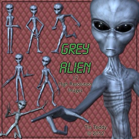 Alien Digital Clip Art - 12 Intergalactic Images for your Scrapbooking & Card Making - Instant Download