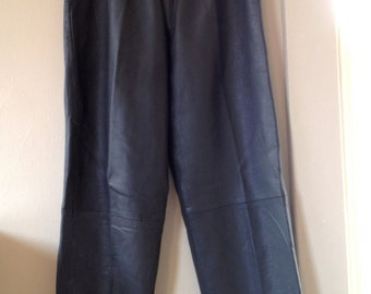 VINTAGE 1980s Grey High-Waisted Pleated LEATHER PANTS