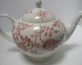 Teapot - Vintage Teapot Antique Rose Pattern Teapot Porcelain Teapot