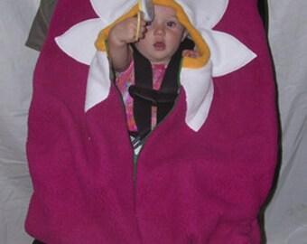 Daisy Baby Car Seat Cover on Bright Fuchsia, Infant Car Seat Cover, Baby Car Set Cover, Car Seat Cover