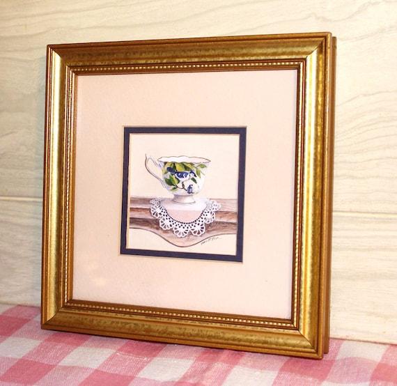 Shabby Cottage Chic Nest Prints Home Decor Wall Art ~ Shabby chic framed print teacup bird blue jay
