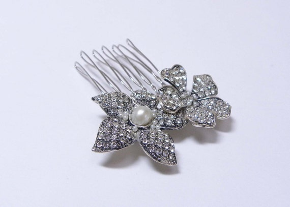 Antique Silver Pave Crystal and Pearl Flower Bridal Hair Brooch Wedding Accessory Comb