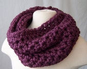Purple CROCHET cowl neck warmer handmade scarf hand crocheted infinity eternity loop wool blend fig
