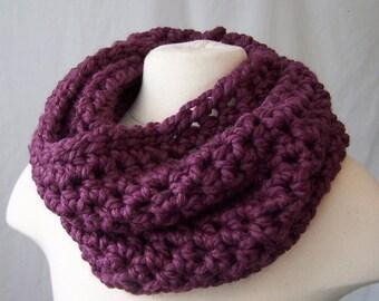 Purple CROCHET cowl neck warmer handmade scarf hand crocheted infinity eternity loop wool blend fig