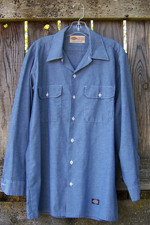 Vintage 1980s Authentic Made In Usa Dickies Blue Chambray Work
