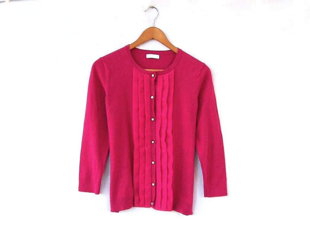 Womens button up cardigan dark fuchsia pink sweater rhinestone