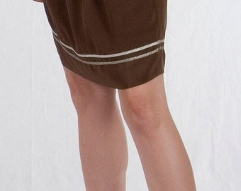 Short Skirt, Tulip Skirt, Brown Skirt, Mini Skirt, Skirt with Pockets, Pull On Silk Skirt in Crepe De Chine with Metallic Trim, OOAK