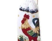 Clearance - Rooster -  Hanging Kitchen Towel - Crochet button top