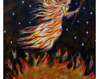 Fire Angel-Original 8 x 10 Fine Art Modern Print, Acrylic Red Elemental Fire Angel, Inspirational, Motivational Passion-Wall art-Creative