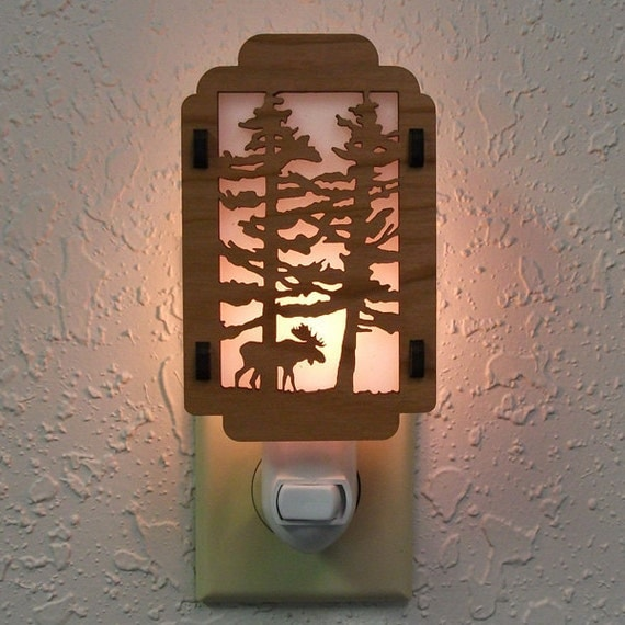 Moose Night Light with Pine Tree sides