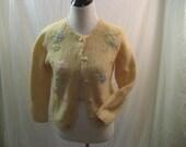 Cardigan Beaded Wool circa 1950-1960