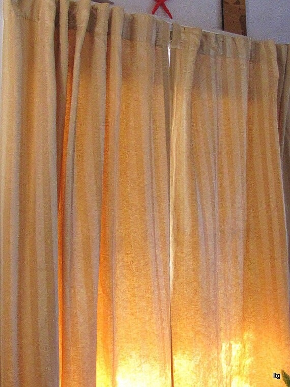 LAST CALL Vintage Golden Stripe Drapery Panels