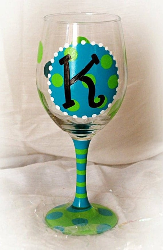 Funky polka dot and initial hand painted wine glass for Painted wine glasses with initials