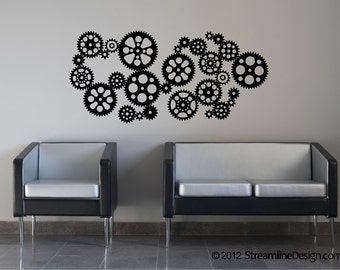 Gears Removable Vinyl Wall Decal | Steampunk Decor Steampunk Wall Decor  Steampunk Gears Gears Decals Steampunk