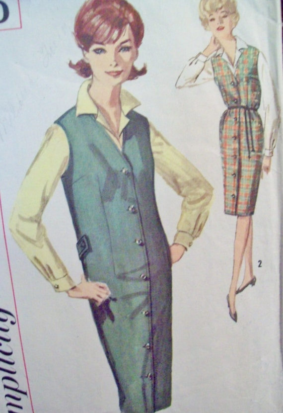 Vintage 1960s Mad Men  Front Button Pencil Skirt Shift Jumper Blouse Pattern Simplicity 5140 Cut Size 14 Bust 34