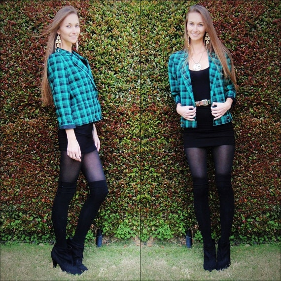 SALE // Green Plaid Blazer, Clueless Blazer, Green Blazer, Preppy Blazer, Small Blazer, Petite Blazer