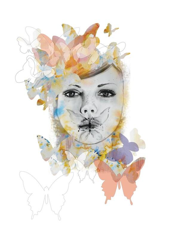 Papillon Girl - A4 Print