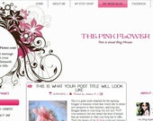 Pink and Black Blogger Template Premade Blog Design - The Pink Flower